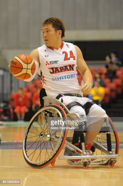 Naohiro Murakami of Japan in action during the Wheelchair Basketball World Challenge Cup third place match between Turkey and Japan at the Tokyo...
