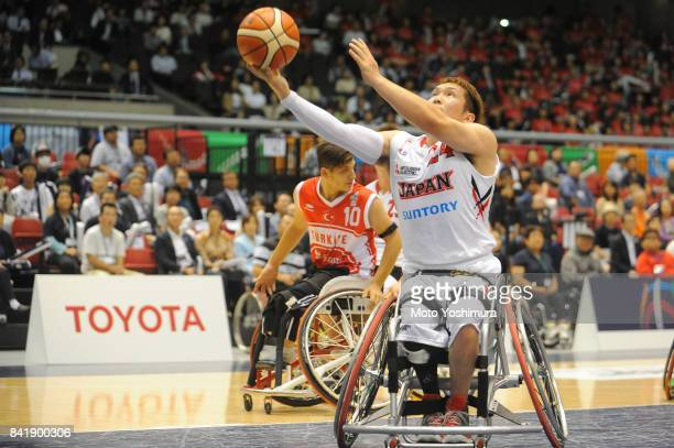 Naohiro Murakami of Japan shoots during the Wheelchair Basketball World Challenge Cup third place match between Turkey and Japan at the Tokyo...