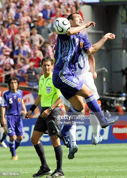 Naohiro Takahara of Japan competes for the ball during the FIFA World Cup Germany 2006 Group F match between Japan and Croatia at the Frankenstadion...