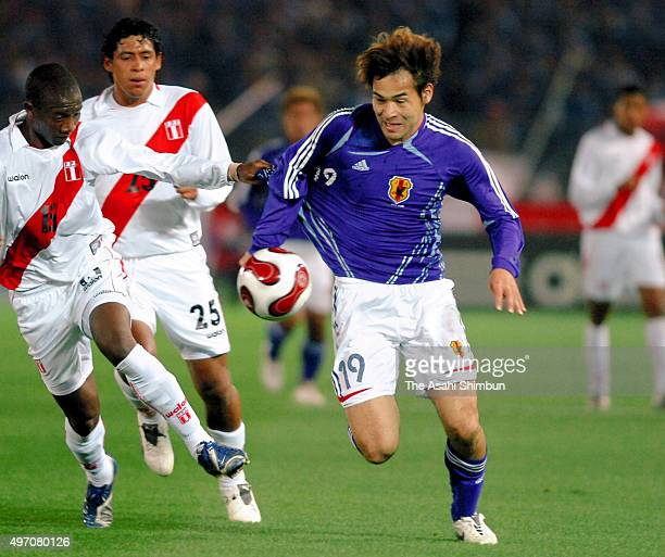 Naohiro Takahara of Japan in action during the international friendly match between Japan and Peru at Nissan Stadium on March 24 2007 in Yokohama...