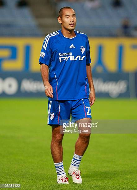 Naohiro Takahara of Suwon Samsung Bluewings warms up before the KLeague match between Incheon United and Suwon Samsung Bluewings at Incheon Munhak...