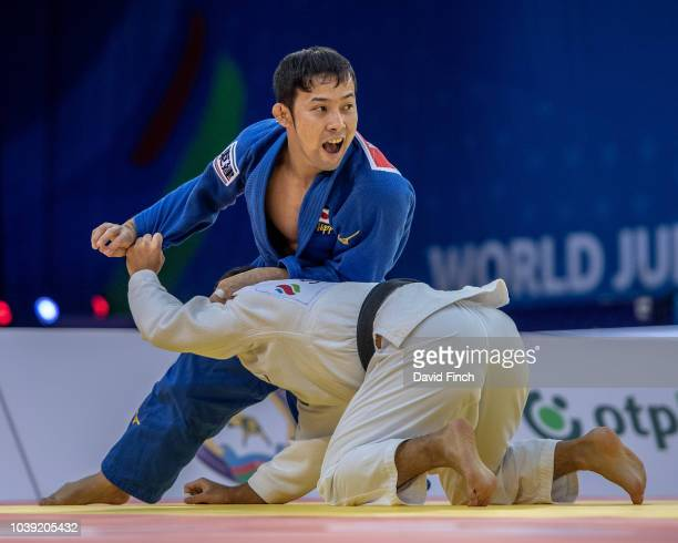 Naohisa Takato of Japan defeated his fellow countryman Ryuju Nagayama by a wazari in extratime to reach the u60kg final and the gold medal during day...