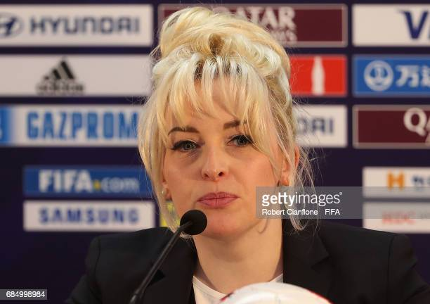 Naoise King Fifa Media Relations Manager is seen during a press conference regarding the Video Assistant Referee system at the Jeonju World Cup...