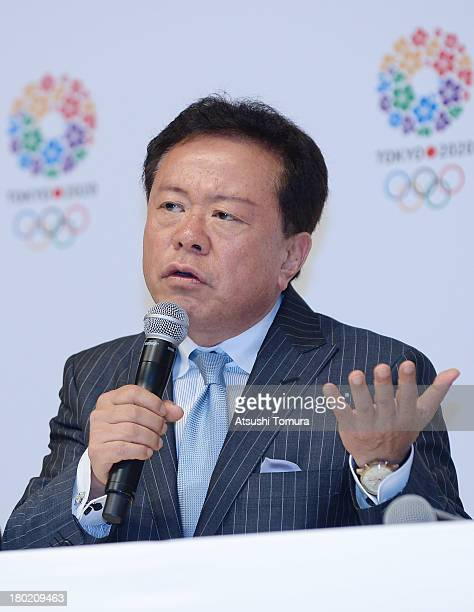 Naoki Inose Governor of Tokyo and Chairman Tokyo 2020 Bid Committee talks to the media during Tokyo 2020 Bid Committee's press conference upon...