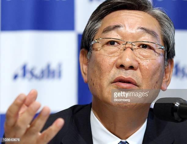 Naoki Izumiya president of Asahi Breweries Ltd speaks during a news conference in Tokyo Japan on Thursday Aug 26 2010 Asahi Breweries Ltd Japan's...