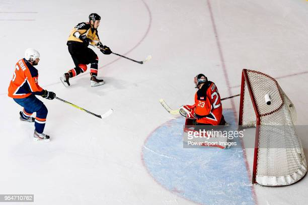 Naoki Kaneko of Empire Skate scores during the Mega Ice Hockey 5s match between Singapore Hawkers and Empire Skate on May 04 2018 in Hong Kong Hong...