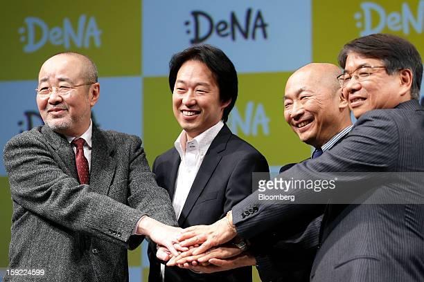 Naoki Kitagawa chief executive officer of Sony Music Entertainment Japan Inc from left Isao Moriyasu president of DeNA Co Kazuhiko Koike president...