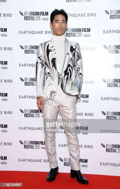 "Naoki Kobayashi attends the ""Earthquake Bird"" World Premiere during the 63rd BFI London Film Festival at the Vue West End on October 10, 2019 in..."