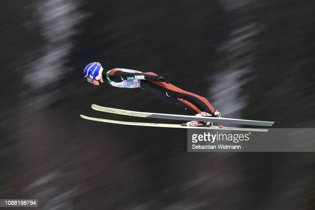 Naoki Nakamura of Japan flies during his practice jump on day 2 of the 67th FIS Nordic World Cup Four Hills Tournament ski jumping event on December...