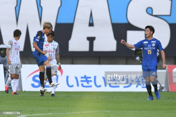 Naoki Nomura of Oita Trinita celebrates the first goal during the J.League Meiji Yasuda J1 match between Oita Trinita and Kawasaki Frontale at Showa...