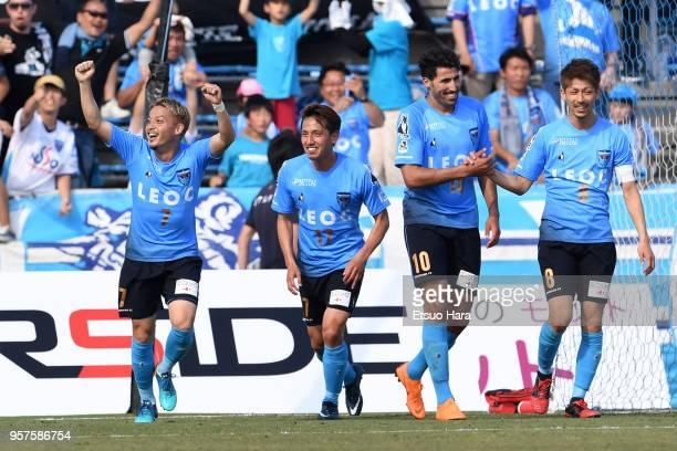 Naoki Nomura of Yokohama FC celebrates scoring his side's second goal during the J.League J2 match between Yokohama FC and Roasso Kumamoto at...