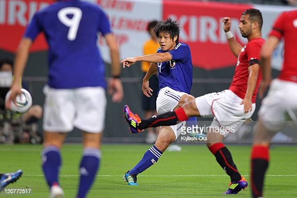 Naoki Yamada of Japan U22 shoots to score a goal during the international friendly match between Japan U22 and Egypt U22 at Sapporo Dome on August 10...