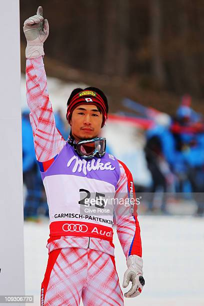 Naoki Yuasa of Japan celebrates at the medal ceremony after finishing sixth in the Men's Slalom during the Alpine FIS Ski World Championships on the...