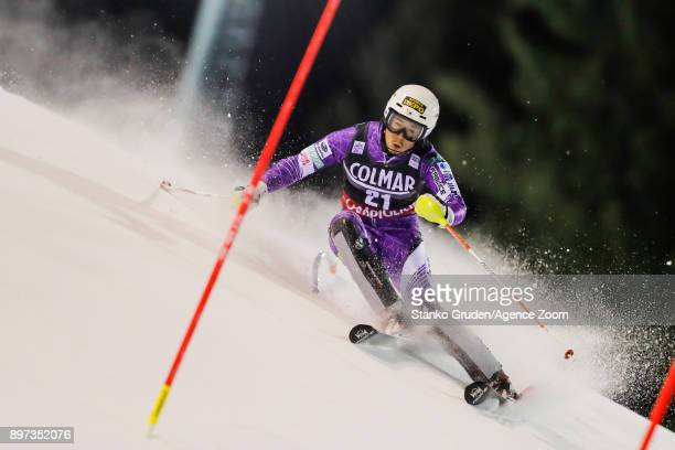 Naoki Yuasa of Japan in action during the Audi FIS Alpine Ski World Cup Men's Slalom on December 22, 2017 in Madonna di Campiglio, Italy.