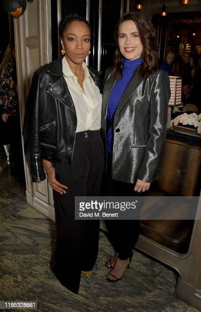 Naomi Ackie and Hayley Atwell attend the launch of the Vanish Airbrush Concealer with Hourglass Rosie HuntingtonWhiteley at the The Connaught Hotel...