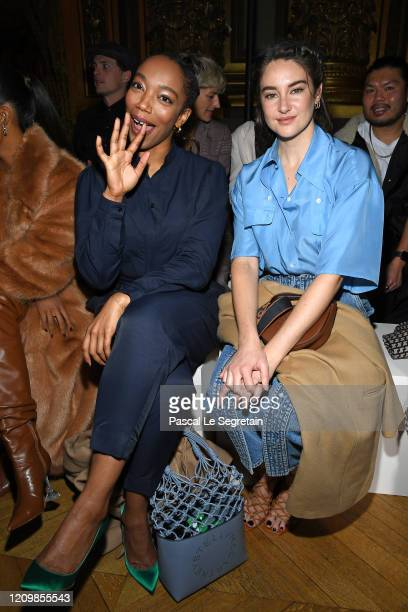 Naomi Ackie and Shailene Woodley attends the Stella McCartney show as part of the Paris Fashion Week Womenswear Fall/Winter 2020/2021 on March 02...