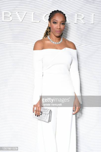 Naomi Ackie attends the Bulgari FW 20 Leather Goods and Accessories Collection Party on February 21 2020 in Milan Italy