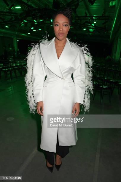 Naomi Ackie attends the Christopher Kane show during London Fashion Week February 2020 at The Mail Centre on February 17 2020 in London England