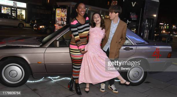 Naomi Ackie Jessica Barden and Alex Barden attend the World Premiere of The End of the F***ing World at Genesis Cinema on November 4 2019 in London...