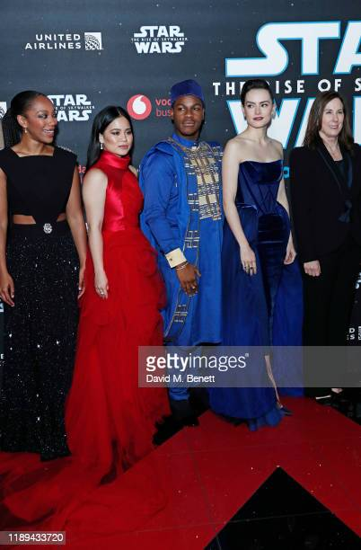 Naomi Ackie Kelly Marie Tran John Boyega Daisy Ridley and Kathleen Kennedy attend the European Premiere of Star Wars The Rise of Skywalker at...