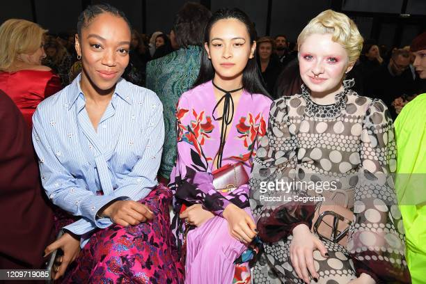 Naomi Ackie Lala Takahashi and Lachlan Watson attend the Valentino show as part of the Paris Fashion Week Womenswear Fall/Winter 2020/2021 on March...