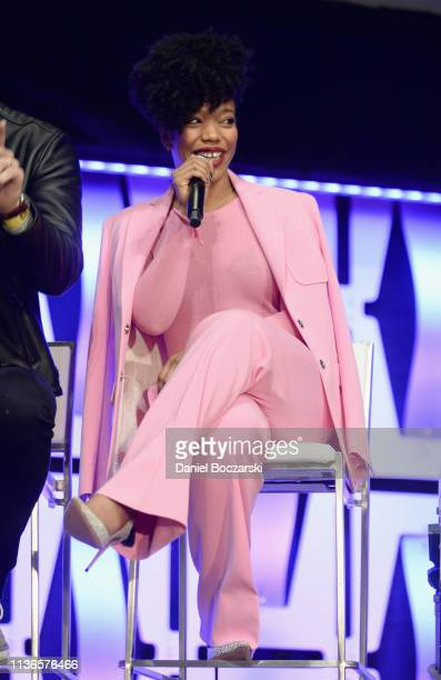 Naomi Ackie onstage during The Rise of Skywalker panel at the Star Wars Celebration at McCormick Place Convention Center on April 12 2019 in Chicago...