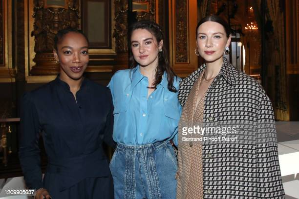 Naomi Ackie, Shailene Woodley and Caitriona Balfe attend the Stella McCartney show as part of the Paris Fashion Week Womenswear Fall/Winter 2020/2021...