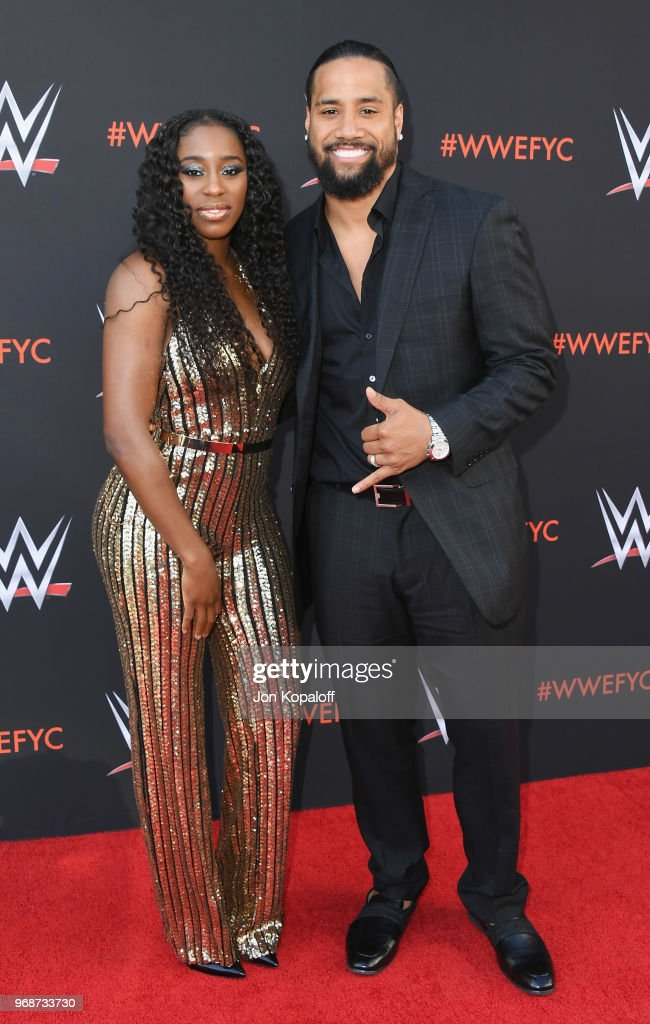 Naomi and Jimmy Uso attend WWE's First-Ever Emmy 'For Your Consideration' Event at Saban Media Center on June 6, 2018 in North Hollywood, California.
