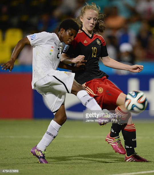 Naomi Anima of Ghana battles with Lea Schueller of Germany during the FIFA U17 Women's World Cup Grroup B match between Ghana and Germany at Edgardo...