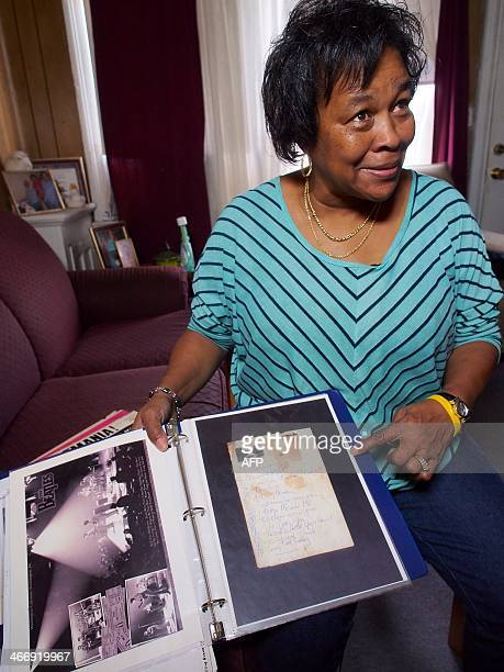 Naomi Banks a native of Washington DC who attended the Beatles' firstever US concert shows a closeup of a copy of the set list from the Beatles'...