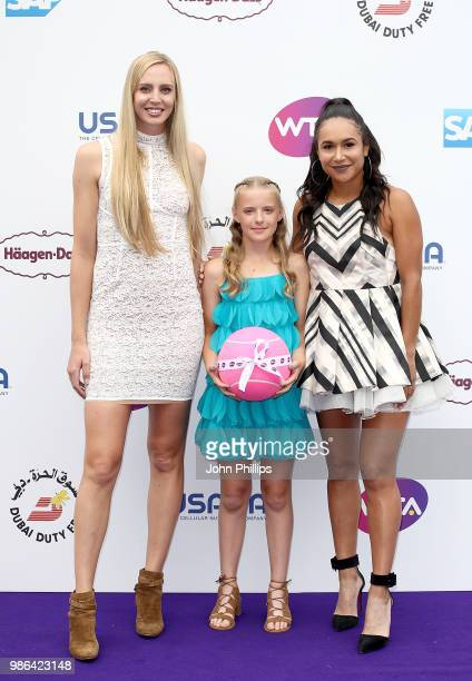 Naomi Broady and Heather Watson with Amie Hunt from the Elena Baltacha Foundation attend the Women's Tennis Association Tennis on The Thames evening...