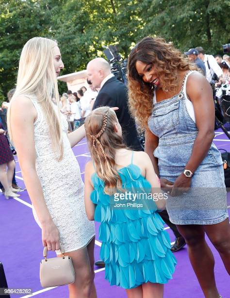 Naomi Broady and Serena Williams with Amie Hunt from the Elena Baltacha Foundation attend the Women's Tennis Association Tennis on The Thames evening...