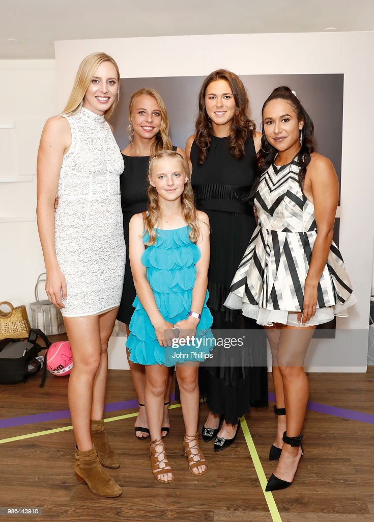 Naomi Broady, Anett Kontaveit, Natalia Vikhlyantseva and Heather Watson pose with Amie Hunt from the Elena Baltacha Foundation, attend the Women's Tennis Association (WTA) Tennis on The Thames evening reception at OXO2 on June 28, 2018 in London, England. The event was held to honour the powerful imprint female sporting legends and rising stars have made on the world, both on and off the tennis court.