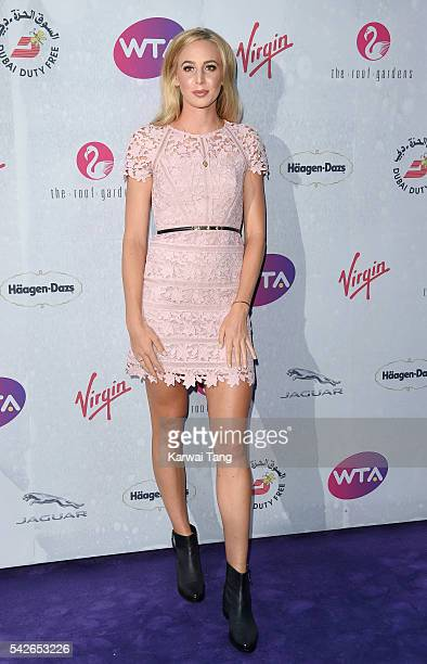 Naomi Broady arrives for the WTA PreWimbledon Party at Kensington Roof Gardens on June 23 2016 in London England