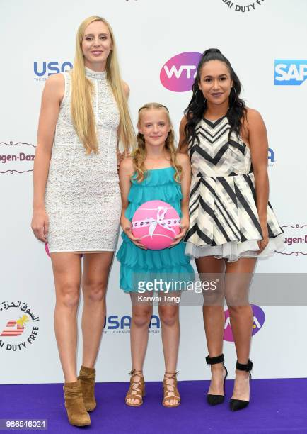 Naomi Broady Heather Watson and Amie Hunt from the Elena Baltacha Foundation attend the WTA's 'Tennis On The Thames' evening reception at Bernie...