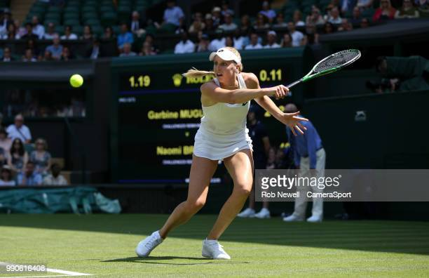 Naomi Broady in action during her match against Garbine Muguruza at All England Lawn Tennis and Croquet Club on July 3 2018 in London England