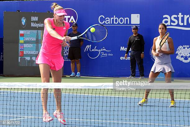 Naomi Broady of Britain and Cagla Buyukakcay of Turkey in action during round one of the 2016 BMW Malaysian Open at Kuala Lumpur Golf & Country Club...