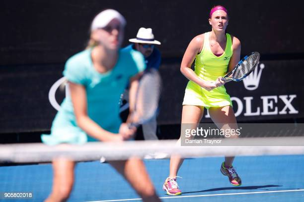Naomi Broady of Great Britain and Anna Smith of Great Britain compete in their first round women's doubles match against Barbora Strycova of the...