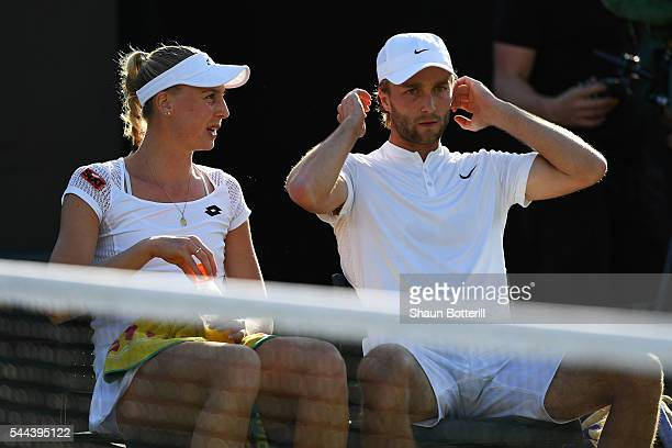 Naomi Broady of Great Britain and Liam Broady of Great Britain during the Mixed Doubles first round match against Nicholas Monroe of the United...