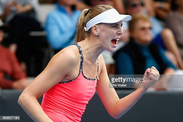 Naomi Broady of Great Britain celebrates a point in her singles match against Jelena Ostapenko of Latvia during day three of the 2016 ASB Classic at...