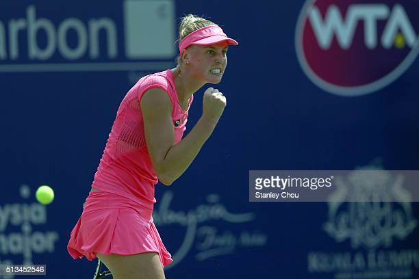 Naomi Broady of Great Britain celebrates after she defeated Zhaoxuan Yang of China during Day Four of the 2016 BMW Malaysian Open at Kuala Lumpur...