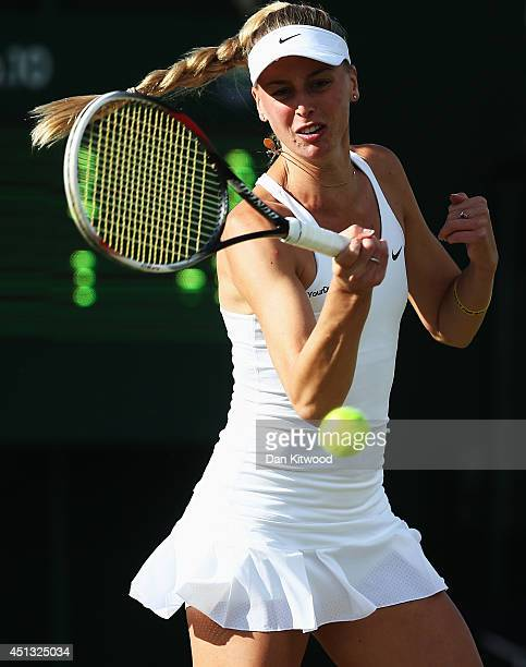 Naomi Broady of Great Britain during her Mixed Doubles first round match with Neal Skupski against Robert Farah of Colombia and Darija Jurak of...
