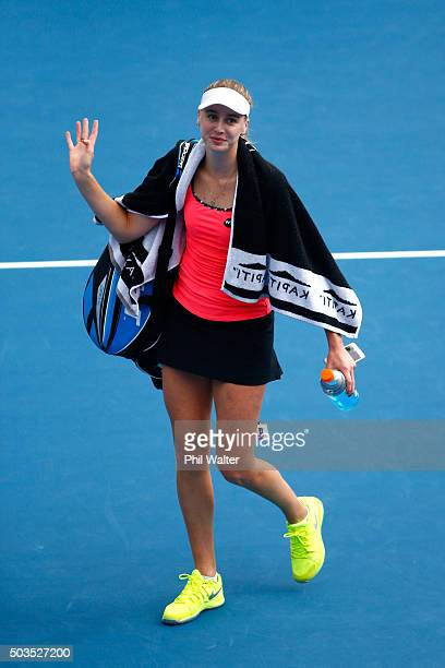 Naomi Broady of Great Britain following her singles match against Jelena Ostapenko of Latvia during day three of the 2016 ASB Classic at ASB Tennis...