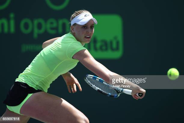 Naomi Broady of Great Britain in action against Marina Erakovic of New Zealand in qualifying at Crandon Park Tennis Center on March 20 2017 in Key...