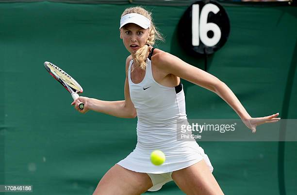 Naomi Broady of Great Britain in action during a Wimbledon 2013 qualifying session at the Bank of England Ground in Roehampton on June 19 2013 in...