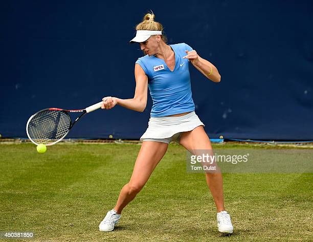Naomi Broady of Great Britain in action during her first round match against Barbora Zahlavova Strycova of the Czech Republic on day two of the Aegon...