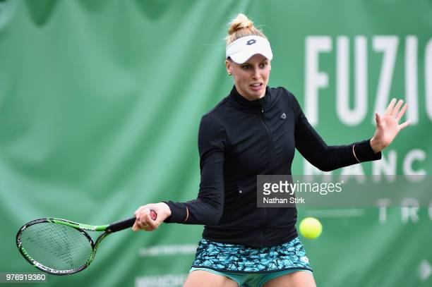 Naomi Broady of Great Britain in action in the Womens Doubles Final during Finals Day of the Fuzion 100 Manchester Trophy at The Northern Lawn Tennis...
