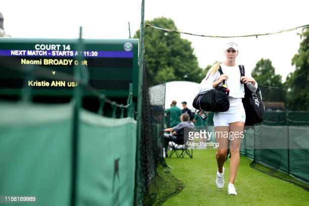 Naomi Broady of Great Britain makes her way to court for her singles match against Kristie Ahn of The United States during qualifying prior to The...