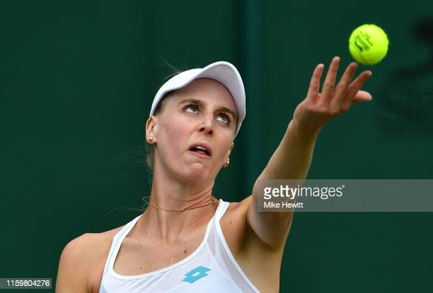 Naomi Broady of Great Britain partner of Naiktha Bains of Great Britain serves in her Ladies' Doubles first round match against Barbora Krejcikova...