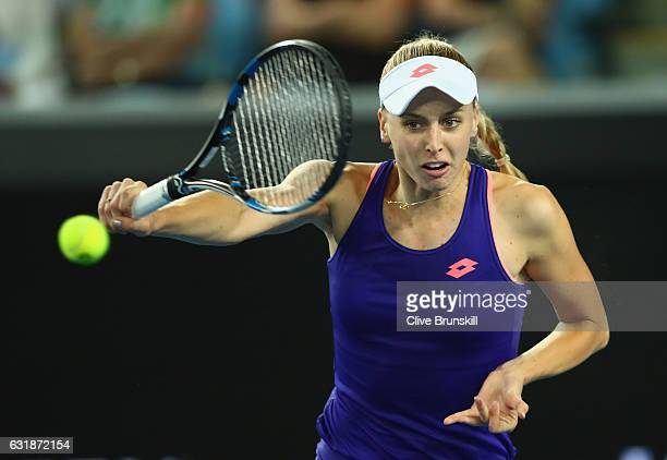 Naomi Broady of Great Britain plays a backhand in her first round match against Daria Gavrilova of Australia on day two of the 2017 Australian Open...